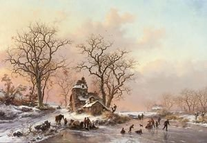 Famous paintings of Ice skating: A Winter Landscape With Skaters Near A Hamlet