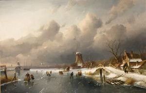 Skaters On A Frozen Waterway, Windmills In The Background