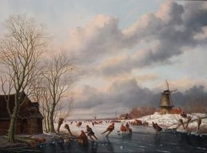 A Winter Landscape With Skaters On A Frozen River, A Windmill Beyond