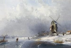 A Frozen Waterway With Skaters Near A Windmill