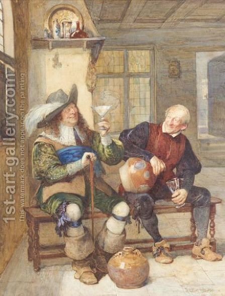 Bottoms Up by Henry Gillard Glindoni - Reproduction Oil Painting