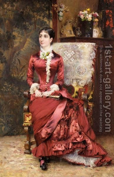 Portrait Of Madame D by Gustave Claude Etienne Courtois - Reproduction Oil Painting