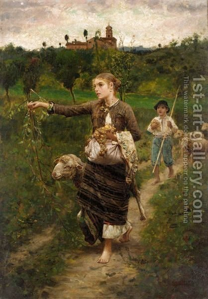 Guiding The Flock by (after) Francesco Paolo Michetti - Reproduction Oil Painting