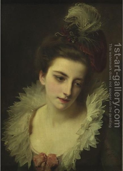 Pensive Beauty by Gustave Jean Jacquet - Reproduction Oil Painting