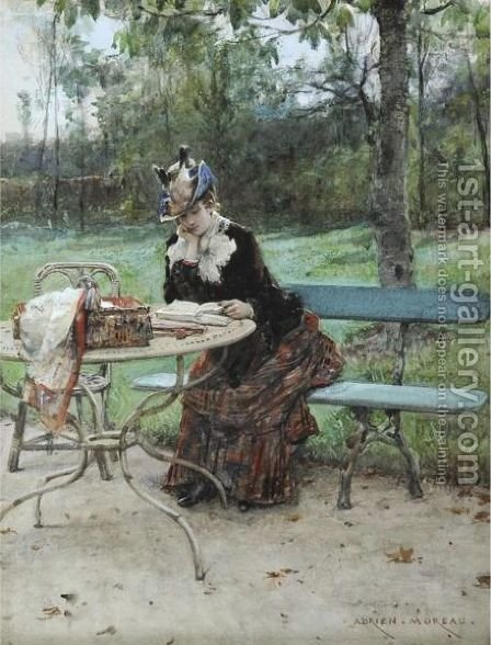 Dans Le Bois by Adrien Moreau - Reproduction Oil Painting