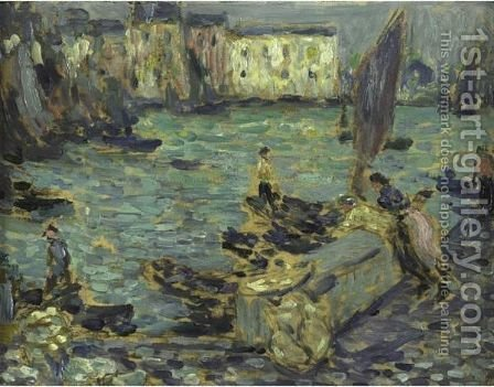 Le Port De Peche by Henri Eugene Augustin Le Sidaner - Reproduction Oil Painting
