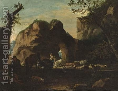 Herdsmen Travelling Through A Rocky Mediterranean Landscape by (after) Jacob De Heusch - Reproduction Oil Painting