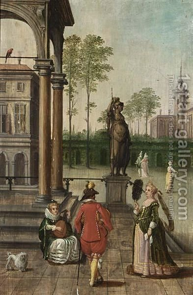 Cappriccio Of A Palace With Elegant Figures In A Garden by (after) Louis De Caullery - Reproduction Oil Painting