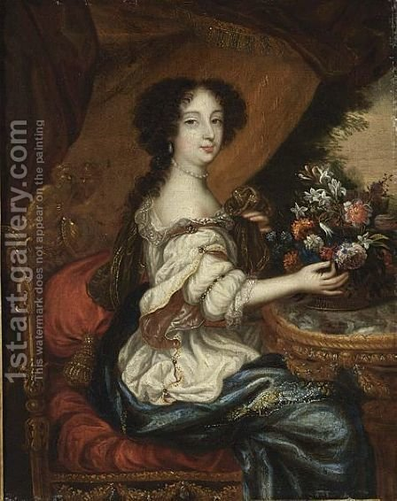 A Portrait Of A Lady, Seated  Three-Quarter Lenght, Wearing A White Dress With A Blue Shawl And Holding A Basket Of Flowers by (after) Mignard, Pierre II - Reproduction Oil Painting