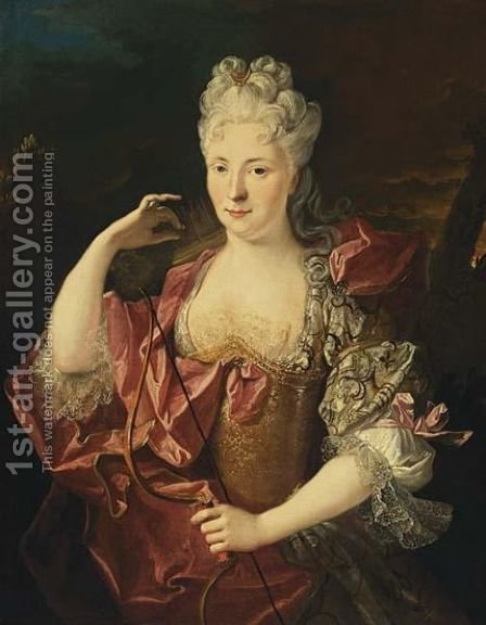A Half Lenght Portrait Of A Lady As Diana Wearing A Pink Silk Dress by (after) Nicolas De Largilliere - Reproduction Oil Painting