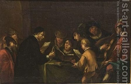 Young Boys Singing With Their Teacher, Accompagnied By Musicians by Italian School - Reproduction Oil Painting