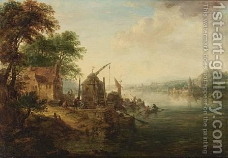 An Extensive River Landscape by (after) Johann Georg Schutz - Reproduction Oil Painting