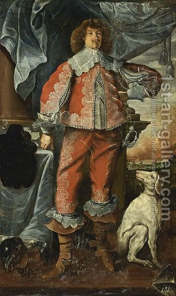 A Portrait Of A Nobleman, Full Length, With A Dog By His Side. by (after) Adriaen Hannemann - Reproduction Oil Painting