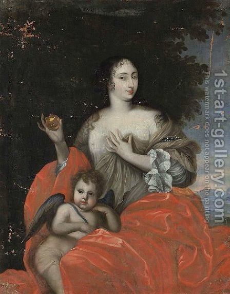 A Portrait Of A Lady As Venus, Seated Three-Quarter Length, Together With Cupid by (after) Loo, Carle van - Reproduction Oil Painting