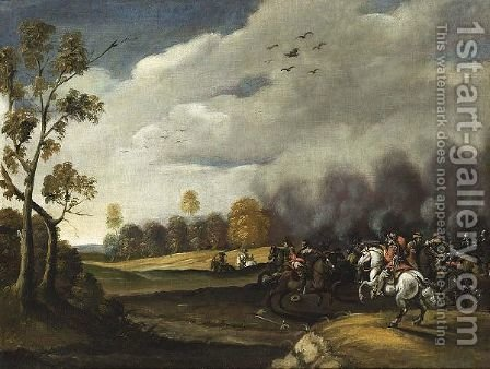 A Cavalry Battle Scene by (after) Pieter Meulener - Reproduction Oil Painting