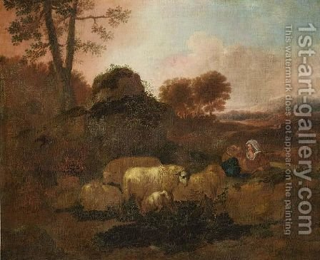 A Pastoral Landscape With A Shepherd Tending His Flock Near A Path by (after) Alexandre-Louis-Robert-Millin Duperreux - Reproduction Oil Painting