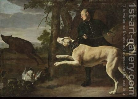 A Huntsman With His Hound Chasing A Boar In A Wooded Landscape, Ducks In A Pond In The Foreground by (after) Carl Borromaus Andreas Ruthart - Reproduction Oil Painting