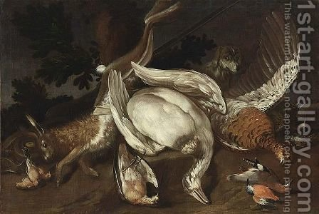 A Hunting Still Life With A Goose, A Hare, A Pheasant And Smallbirds by (after) Jacob Van Der (Giacomo Da Castello) Kerckhoven - Reproduction Oil Painting