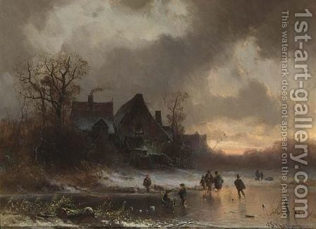 Winter Landscape With Figures On The Ice And A Farmhouse In The Background. by Adolf Stademann - Reproduction Oil Painting