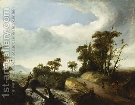 Figures On A Path Near A River In A Forest Landscape. by Irish School - Reproduction Oil Painting