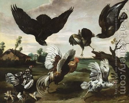 A Cockerel, Hens And Chicks Attacked By Hawks by (after) Paul De Vos - Reproduction Oil Painting