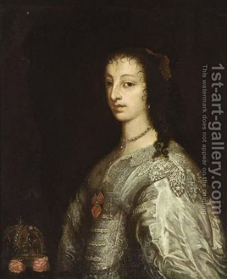 A Portrait Of Queen Henrietta Maria (1609 - 1669), Consort Of Charles I Of England,  Half Length, Wearing A White Silk Dress, Standing Next To A Crown by (after) Dyck, Sir Anthony van - Reproduction Oil Painting