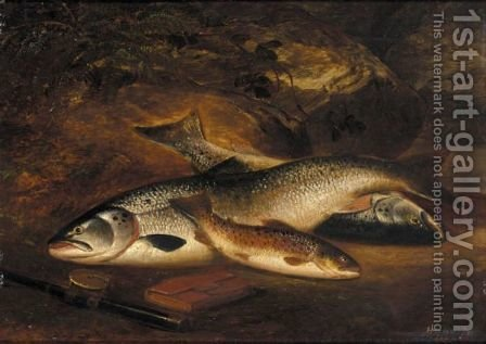 Two Salmon And A Brown Trout by Henry Leonidas Rolfe - Reproduction Oil Painting