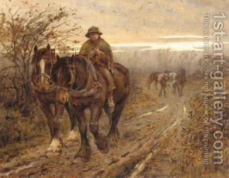 The Weary Beasts Returning Frae The Plough by Harold Swanwick - Reproduction Oil Painting
