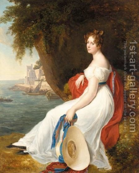 Portrait Of A Lady by (after) Rene-Theodore Berthon - Reproduction Oil Painting
