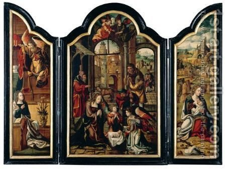 A Triptych The Adoration Of The Christ Child, Flanked By The Annunciation And The Rest On The Flight Into Egypt by (after) Pieter Coecke Van Aelst - Reproduction Oil Painting