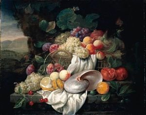 Still Life With Grapes, Plums, Apricots And A Pomegranate In A Basket, Together With Other Fruits And A Nautilus Shell On A Stone Ledge