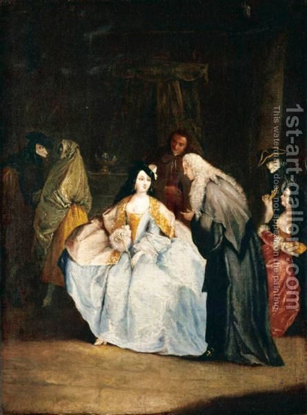 A Meeting Between A Procurator And His Wife In An Interior With Other Masqueraded Figures by Italian Unknown Master - Reproduction Oil Painting