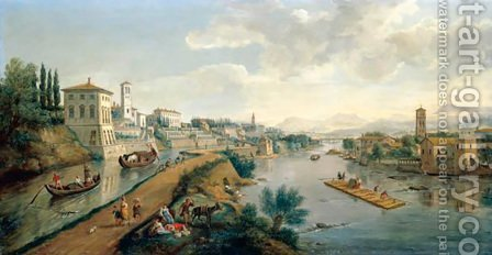 A View Of The Vaprio D'Adda by (after) Caspar Andriaans Van Wittel - Reproduction Oil Painting