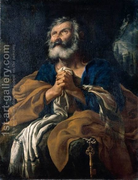 Saint Peter In Penitence by (after) Flaminio Torre - Reproduction Oil Painting