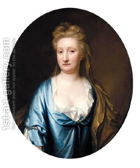 Portrait Of Mrs Mostyn, Half Length, Wearing A Blue Silk Dress And A Gold Veil by (after) Dahl, Michael - Reproduction Oil Painting