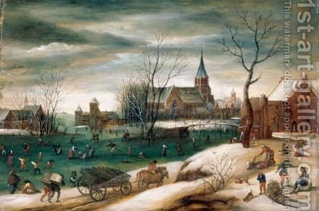 A Winter Landscape With Figures Skating On A Frozen River Before A Church by (after) Jacob Grimmer - Reproduction Oil Painting