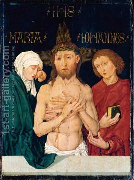 Christ As The Man Of Sorrows, Flanked By The Virgin And Saint John by (after) Martin Schongauer - Reproduction Oil Painting