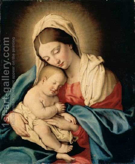 Madonna And Child by Giovanni Battista Salvi, Il Sassoferrato - Reproduction Oil Painting