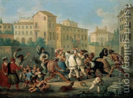 Carnival Scene With Children Dancing And Figures In Commedia Dell'Arte Costumes Eating Pasta In A Street by (after) Marco Marcola - Reproduction Oil Painting
