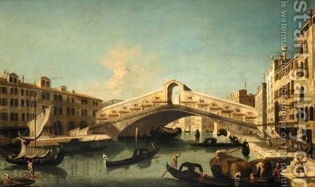 Venice, A View Of The Rialto Bridge by (after) Bernardo Bellotto (Canaletto) - Reproduction Oil Painting