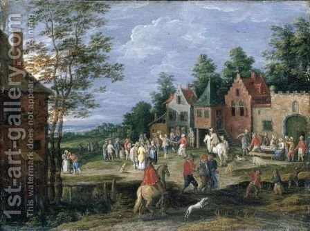 A Village Scene With Figures Dancing And Merrymaking Before A Tavern by (after) Jan The Elder Brueghel - Reproduction Oil Painting