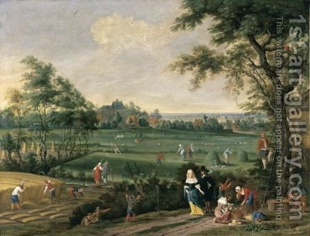 A Late Summer Landscape With Peasants Harvesting Corn, Raking Hay And Picking Fruit, Observed By An Elegant Couple On A Road by (after) Jan The Elder Brueghel - Reproduction Oil Painting