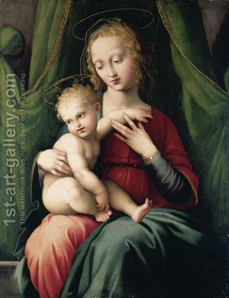 The Madonna And Child Seated Beneath A Green Draped Curtain by Italian Unknown Master - Reproduction Oil Painting