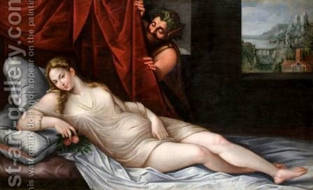 A Reclining Venus With A Satyr by (after) Tiziano Vecellio (Titian) - Reproduction Oil Painting