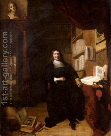 Portrait Of A Gentleman, Full Length, Sitting In His Study Said To Be The Scholar Nicolaes Heinsius (1620-1681) by (after) Nicolaes Maes - Reproduction Oil Painting