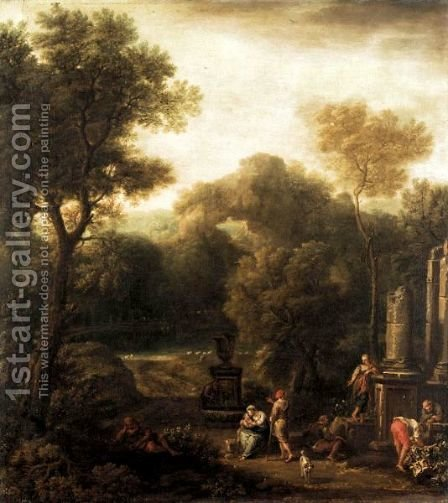 Italianate Landscape With Figures Beside Ruins by (after) Jan Frans Van Orizzonte (see Bloemen) - Reproduction Oil Painting