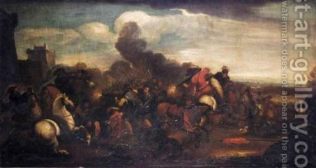 A Battle Scene With Cavaliers And Infantry Fighting Before A Fortified Town by (after) Jacques (Le Bourguignon) Courtois - Reproduction Oil Painting