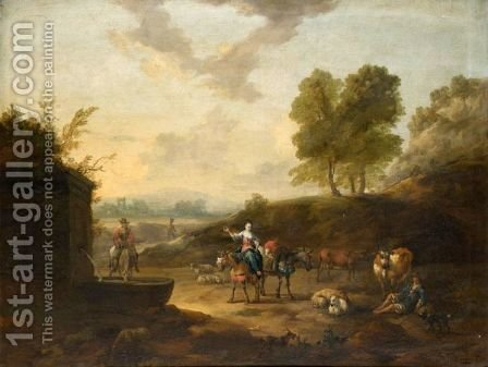 An Italianate Landscape With Drovers Watering Their Animals At A Well by J. Tillemans - Reproduction Oil Painting