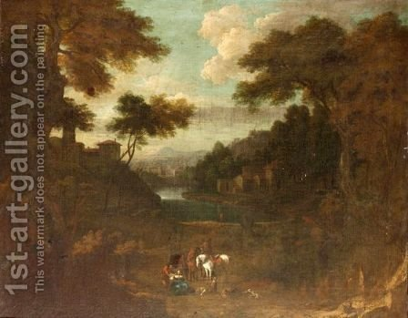 Figures Resting In A Classical Landscape by (after) Cornelis Huysmans - Reproduction Oil Painting