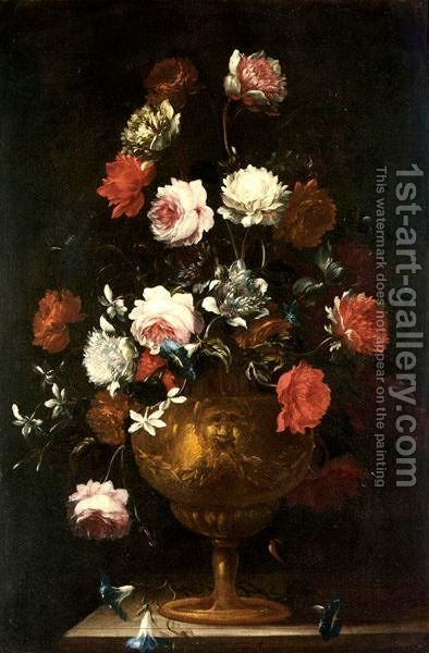 Still Life With Various Flowers In A Gilt Urn On A Stone Ledge by (after) Andrea Scacciati - Reproduction Oil Painting